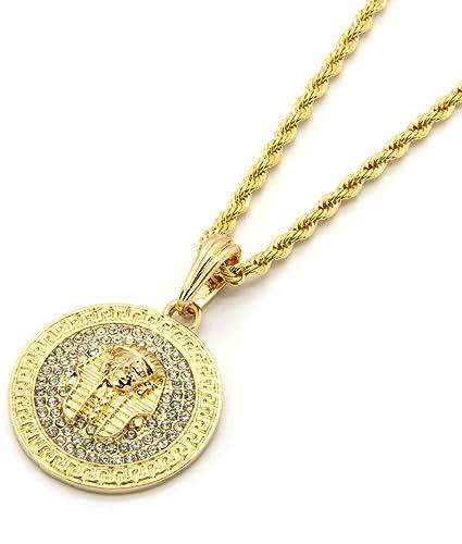82c548dbf9fb1 Mens Gold Tone Medallion Pattern Pharaoh God Egyptian 3mm 24