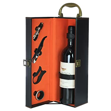 Zalik Wine Gift Box Set Bounded Leather Wine Case u2013 Wine Carrier For Standard Wine Bottle  sc 1 st  Amazon.com & Amazon.com | Zalik Wine Gift Box Set Bounded Leather Wine Case ... Aboutintivar.Com