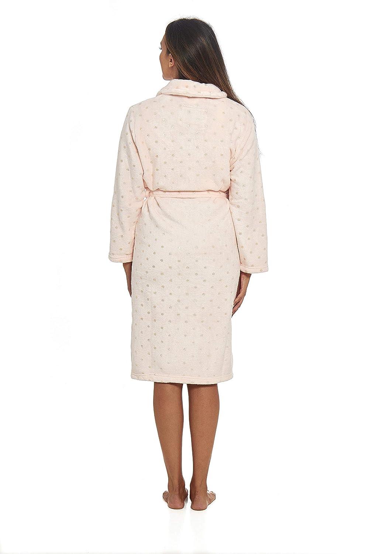 Habigail Ladies Plush Shimmer Fleece Dressing Gown Bathrobe