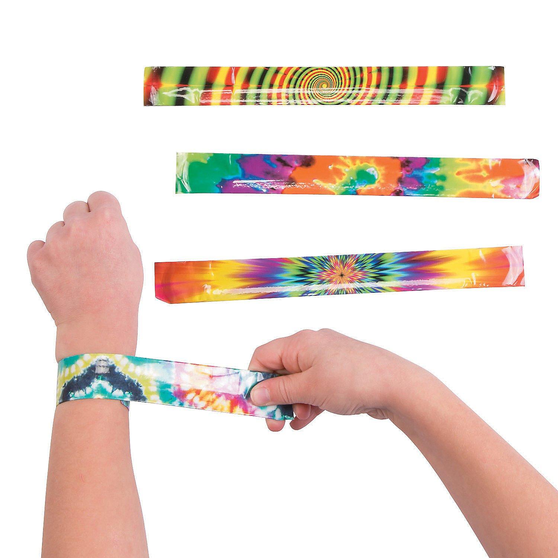 Fun Express Psychedelic Tie-Dye Slap Bracelet Party Favor - 12 Pieces