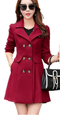 7c054be8728 Lingswallow Women s Vintage Lapel Trench Coat Double Breasted Wool Jacket  Red