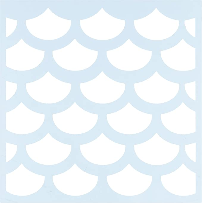 Reusable Delux Arts Mermaid//Fish Scale Stencil 5x8 Inches Washable and Durable Polyester Plastic Stencil