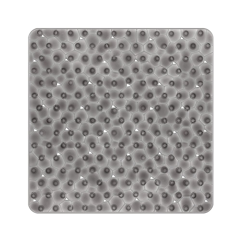 Bligli Non Slip Square Shower Mat for Bathroom Water Cube See-through Anti-Mould Anti Slip Bath Mat with Grip Suction Cups54*54CM (Gray)