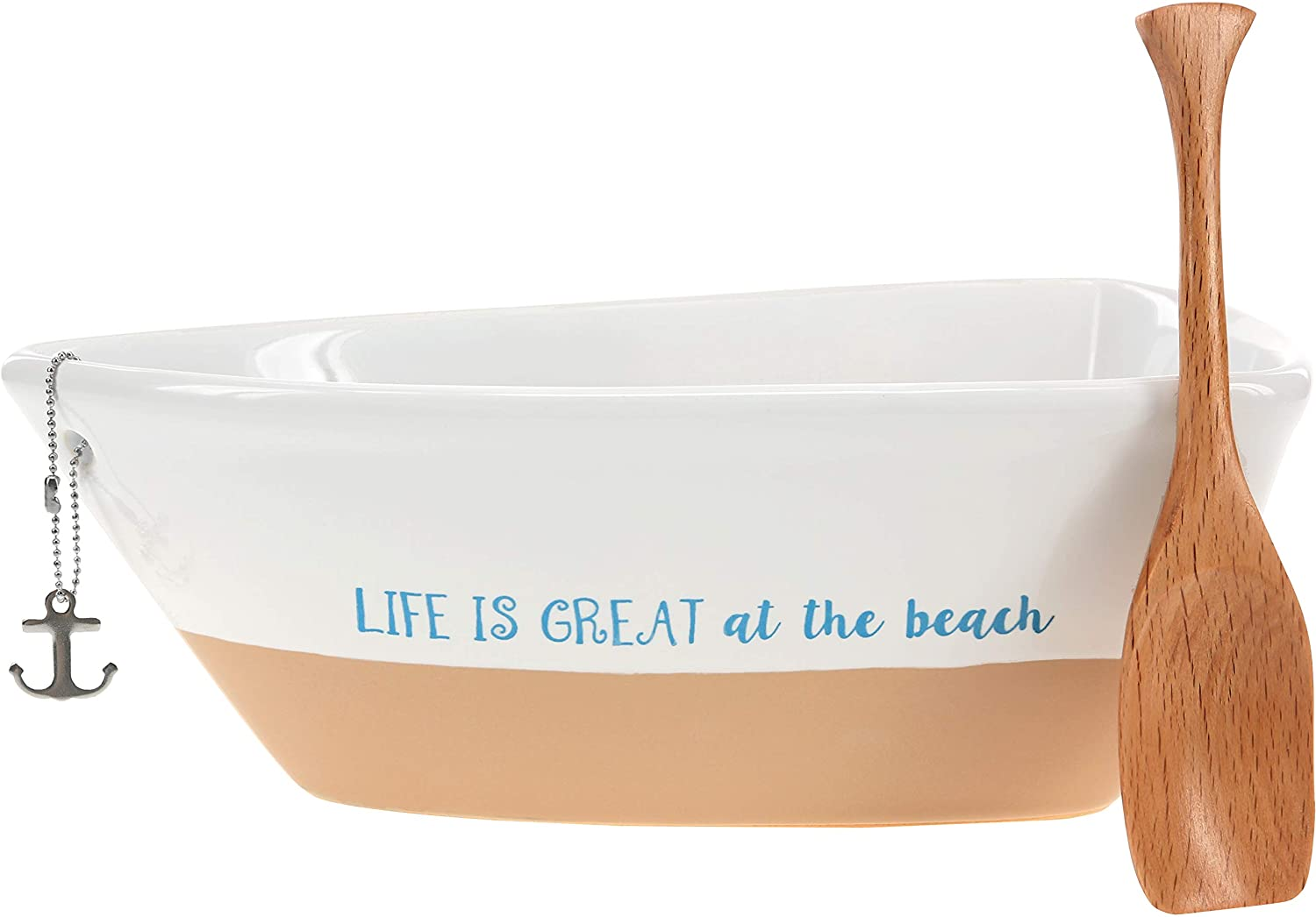 Pavilion Gift Company 12 Oz Stoneware Boat Dish Server With Wooden Oar Scoop Life Is At The Beach, Beige