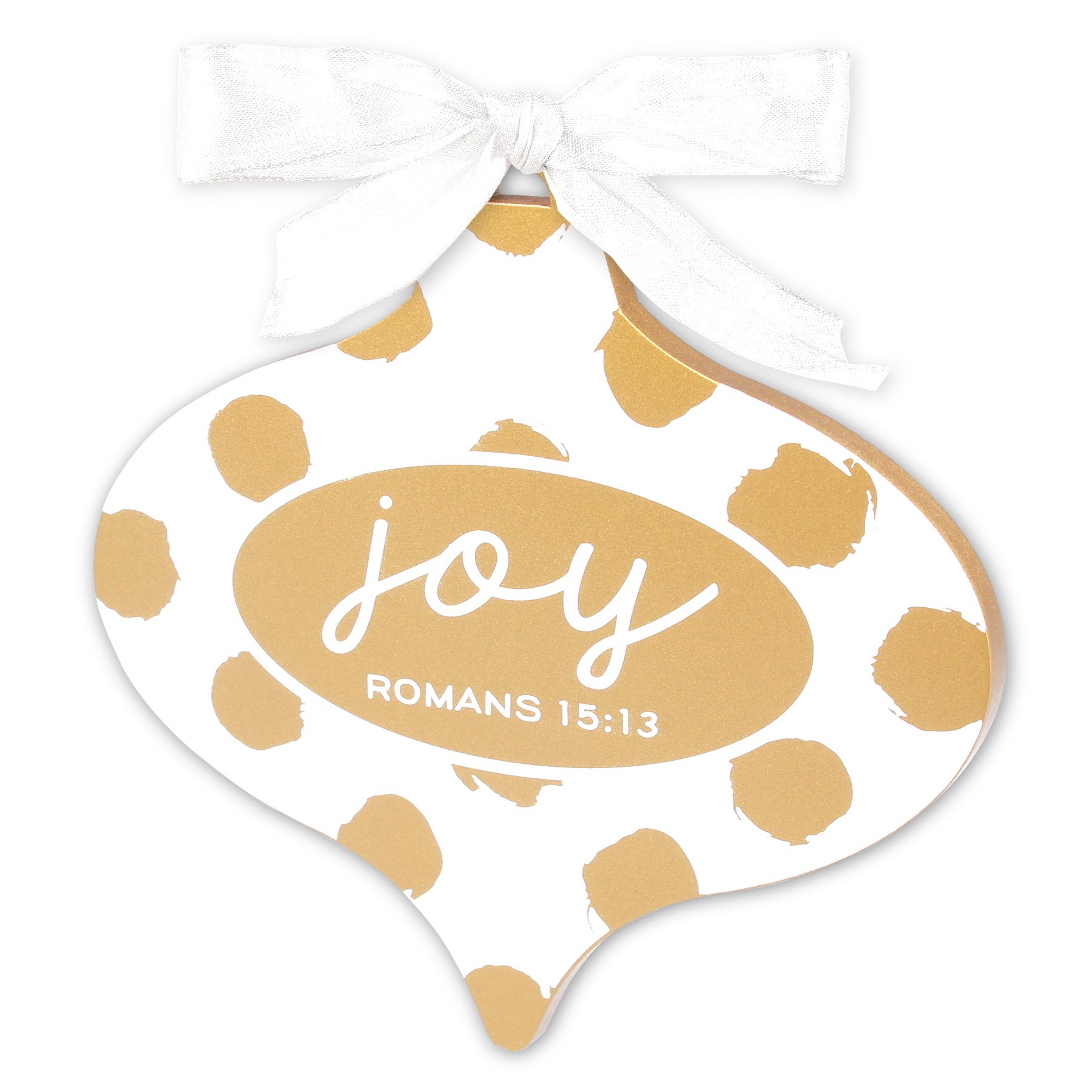 Lighthouse Christian Products Gold & White Joy Christmas Ornament