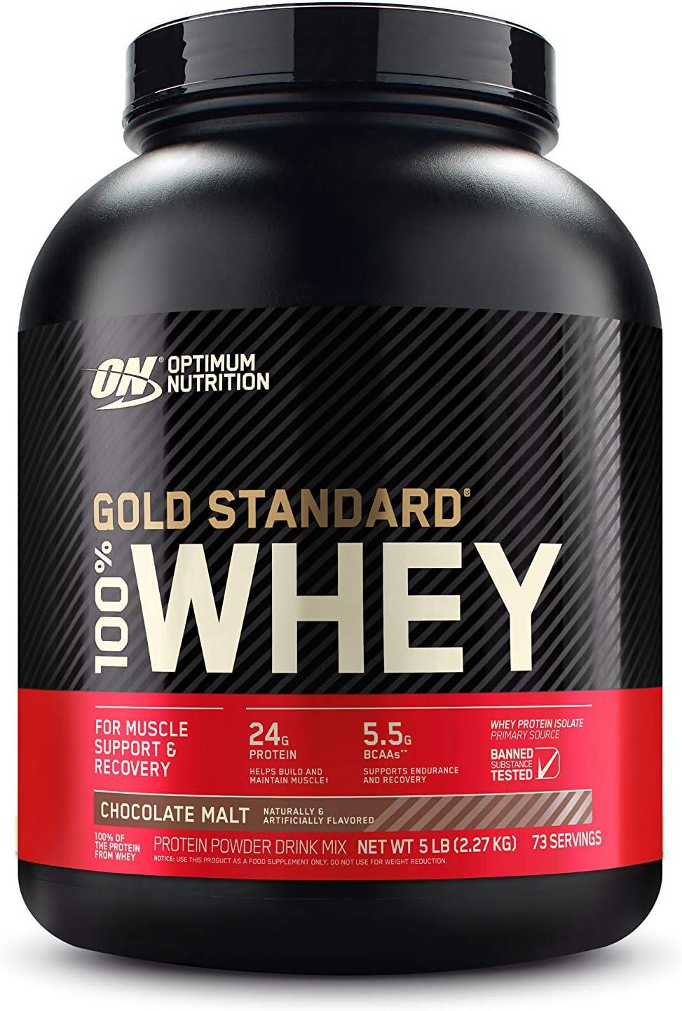 Optimum Nutrition Gold Standard 100% Whey Protein Powder, Chocolate Malt, 5 Pound (Packaging May Vary): Garden & Outdoor