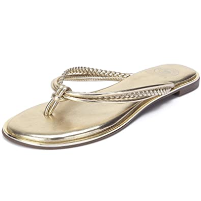 6921d2d61a3f34 CAMEL CROWN Women s Metallic Flip-Flops Braided T-Strap Thong Flat Sandals  Faux Leather