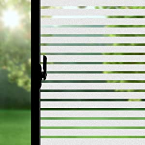 """ConCus-T Static Cling No Adhesive Vinyl Premium Decorative Frosted Stripes Privacy Window Film Glass Covering Film 17.72""""x78.74"""""""