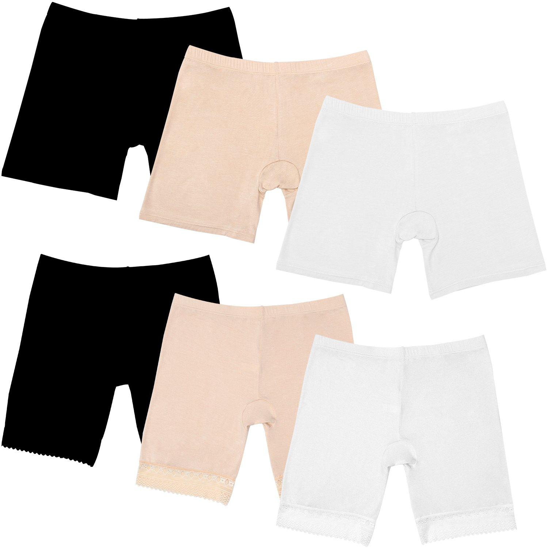 Elcoho 6 Pack Women Under Dress Shorts Safety Pants Boyshort Yoga Bike Shorts