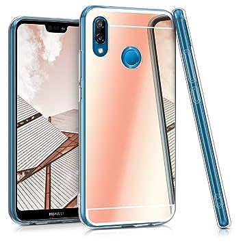 kwmobile Funda para Huawei P20 Lite - Case para móvil de TPU silicona - Cover trasero en oro rosa con efecto espejo