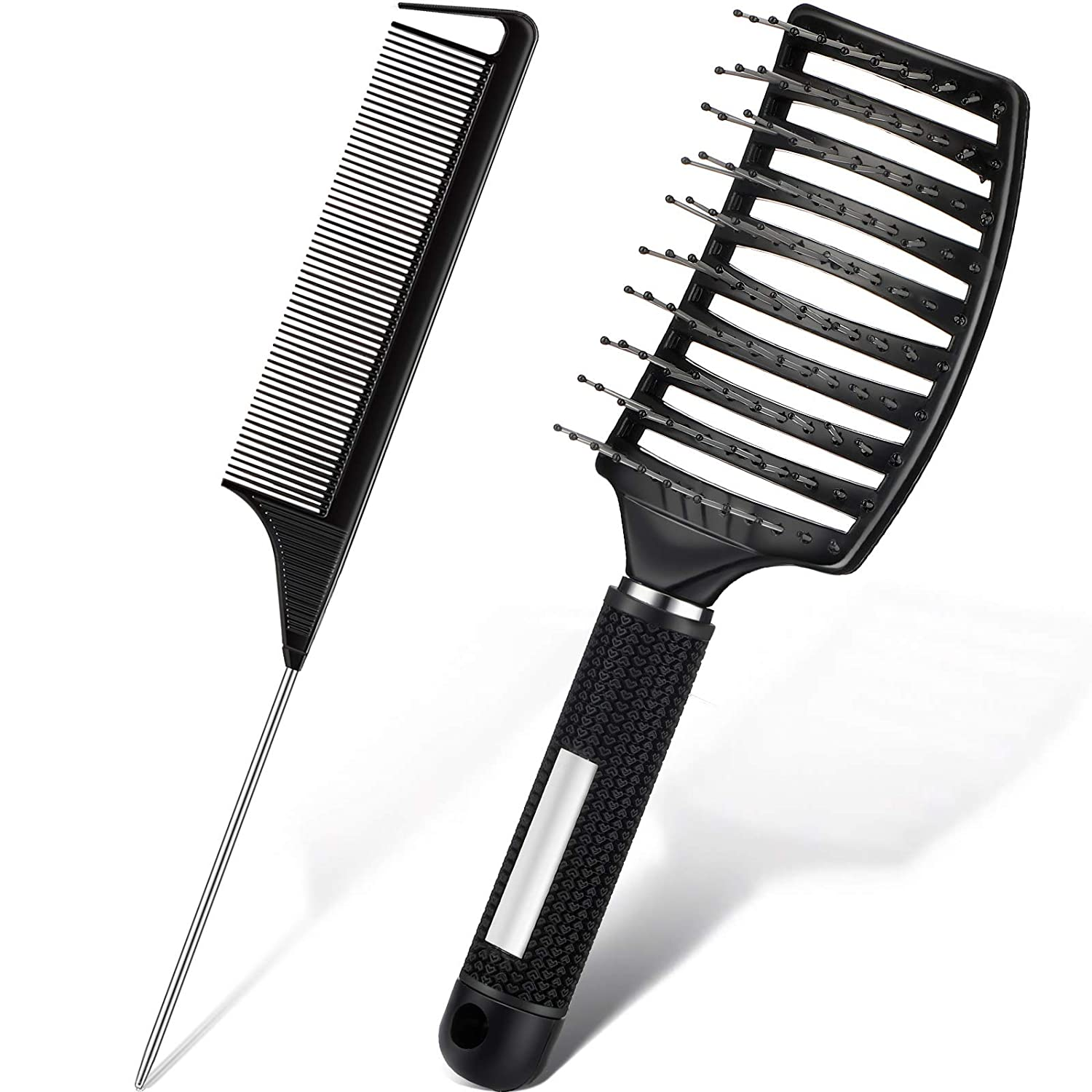 2 Pieces Detangling Massage Hair Brushes Vented Curved Hair Brush Vented Styling Hair Brush Vented Hair Comb and Metal Parting Fine Tooth Comb Rat Tail Comb for Wet Hair and Fast Blow Drying