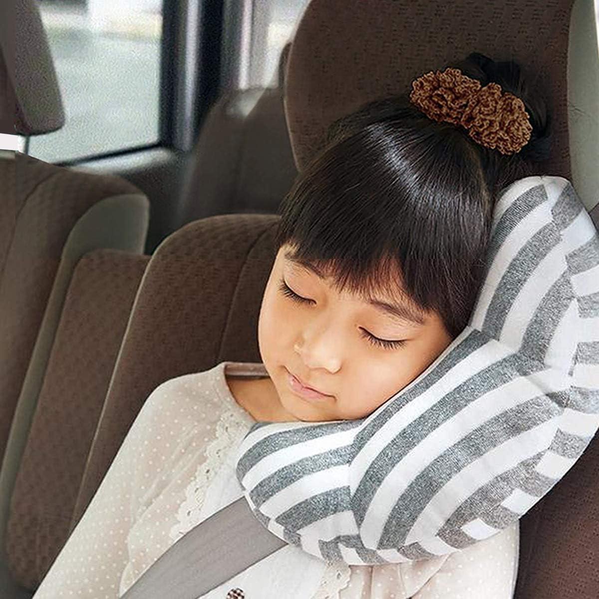 KiraKira seguridad Cojín de hombro Cojín de hombro, Almohadilla Cinturon Seguridad Para Niños y Bebés,Cojín de Viaje Cuello,Cojín de cinturón para niños Niños Niños (Gris)