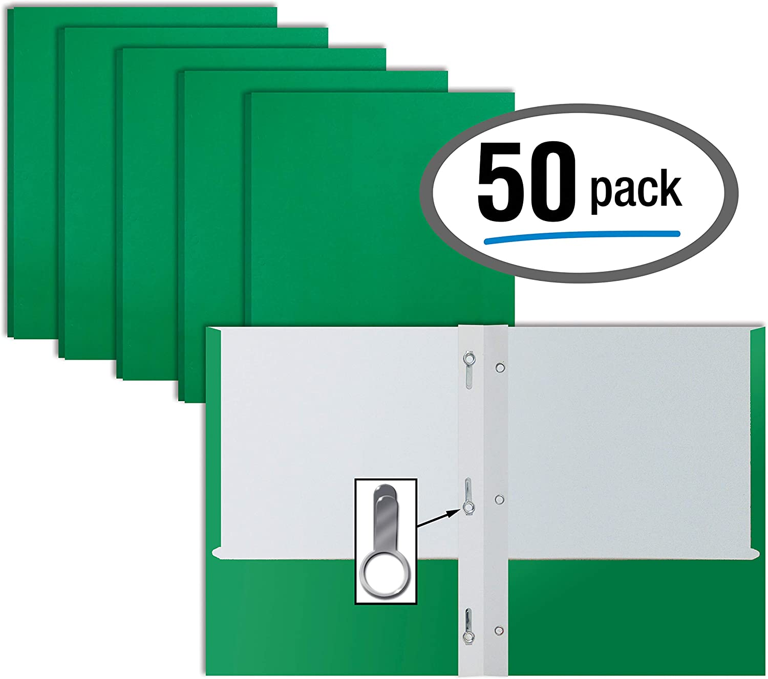 Green Paper 2 Pocket Folders with Prongs, 50 Pack, by Better Office Products, Matte Texture, Letter Size Paper Folders, 50 Pack, with 3 Metal Prong Fastener Clips, Green