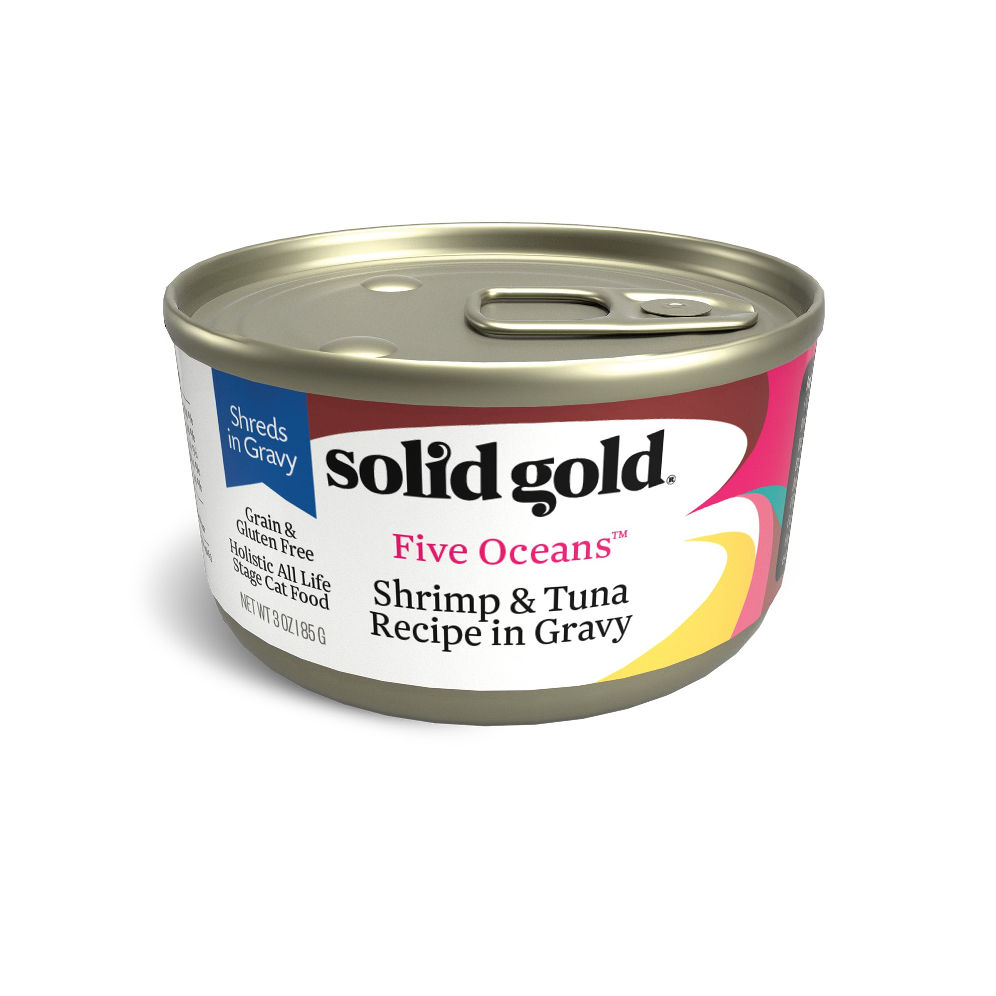 Solid Gold Shreds In Gravy Wet Cat Food; Five Oceans With Real Shrimp & Tuna, 24Ct/3Oz Can by Solid Gold