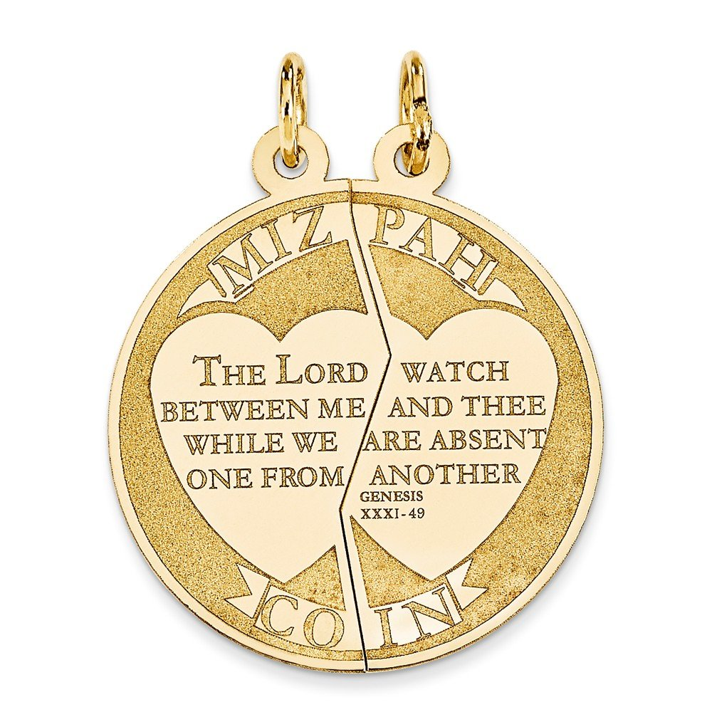 14k Yellow Gold Solid Polished Flat back Engravable Laser Etched Mitzpah Charm - Measures 22x22mm