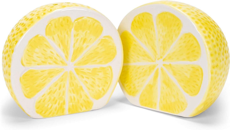 Sunshine Yellow Lemon Halves 3 x 2 Dolomite Tabletop Salt and Pepper Shaker Set