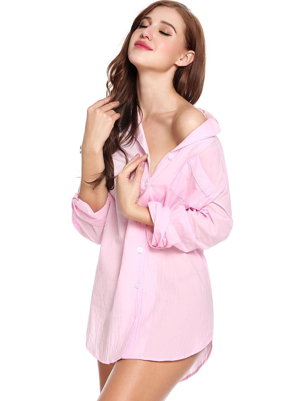 Avidlove Womens Sleep Shirt Luxury Sleepwear Long Sleeve Button-Front  Nightshirts ALK005231 106feb4bb