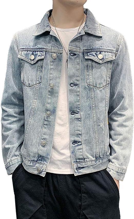 NOQINHOO デニムジャケット ダメージ加工 色落ち加工 レトロ メンズ スリム Gジャン カジュアル おしゃれ アウター ショート ファッション長袖 大きいサイズ 春秋冬服