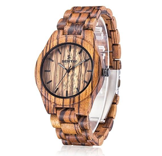Relojes de madera hombre + 2 eslabones de reloj, Caja y brazalete de pulsera de