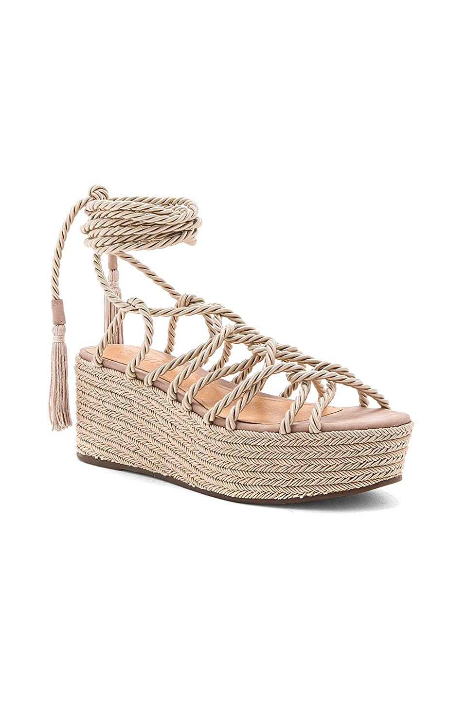 db2aec37b47 Amazon.com  SCHUTZ X Revolve MURANA Neutral Nude TIE up Platform Flatform  Strappy Sandals  Shoes