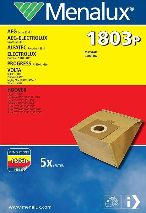 Menalux 1803 P - Bolsas para aspiradores AEG, Progress, Hoover (5 unidades)