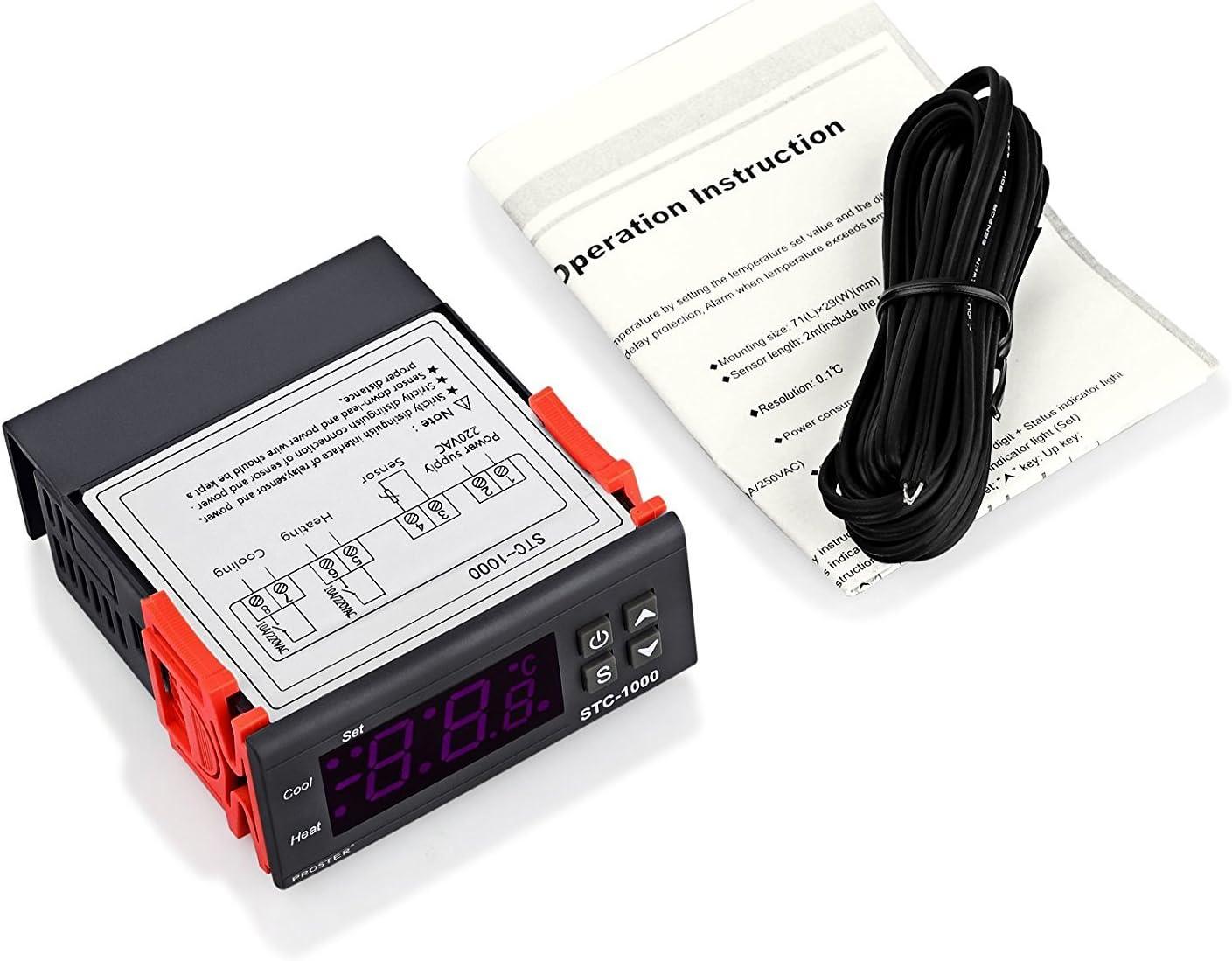 Termostato STC-1000, Proster 220V Digital Display LCD Sensor ...