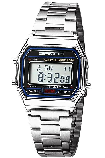Plata reloj digital para hombres cuadrado cara LED cronómetro deportes al aire libre lujo acero inoxidable reloj de pulsera: Amazon.es: Relojes