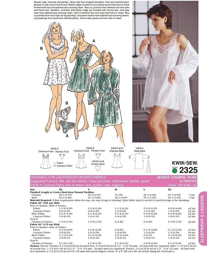 Kwik Sew 2325 - Patrones de costura para confeccionar ropa interior de mujer (tallas XS a XL, instrucciones en inglés): Amazon.es: Hogar
