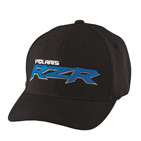 c14373fcdd413 Amazon.com  Polaris New OEM Men s Black   Blue RZR Logo Baseball Hat ...
