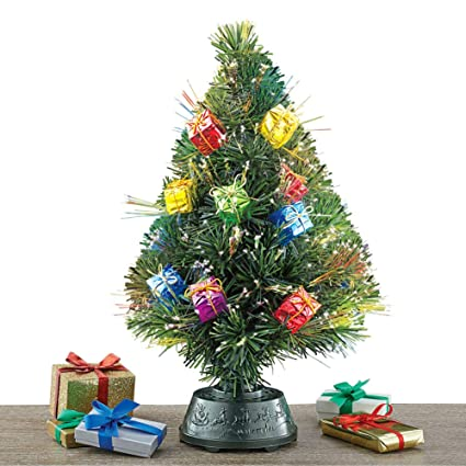 Collections Etc Rotating Tabletop Christmas Tree with Fiber Optic Lights,  Gift Ornaments - Amazon.com: Collections Etc Rotating Tabletop Christmas Tree With