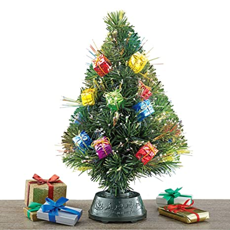 Collections Etc Rotating Tabletop Christmas Tree With Fiber Optic Lights Gift Ornaments