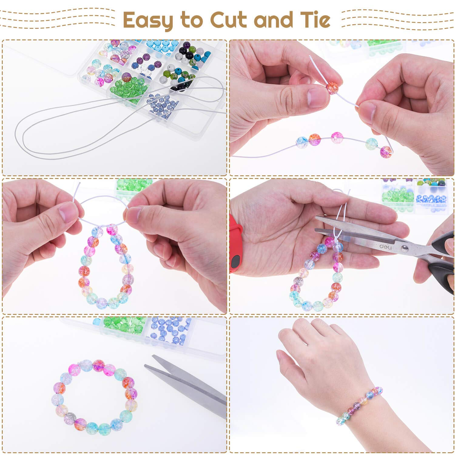 Beading and Sewing Necklace 1.5 MM, 109 Yards, White Elastic String for Bracelets Selizo Elastic Cord Stretchy Bracelet String for Bracelets