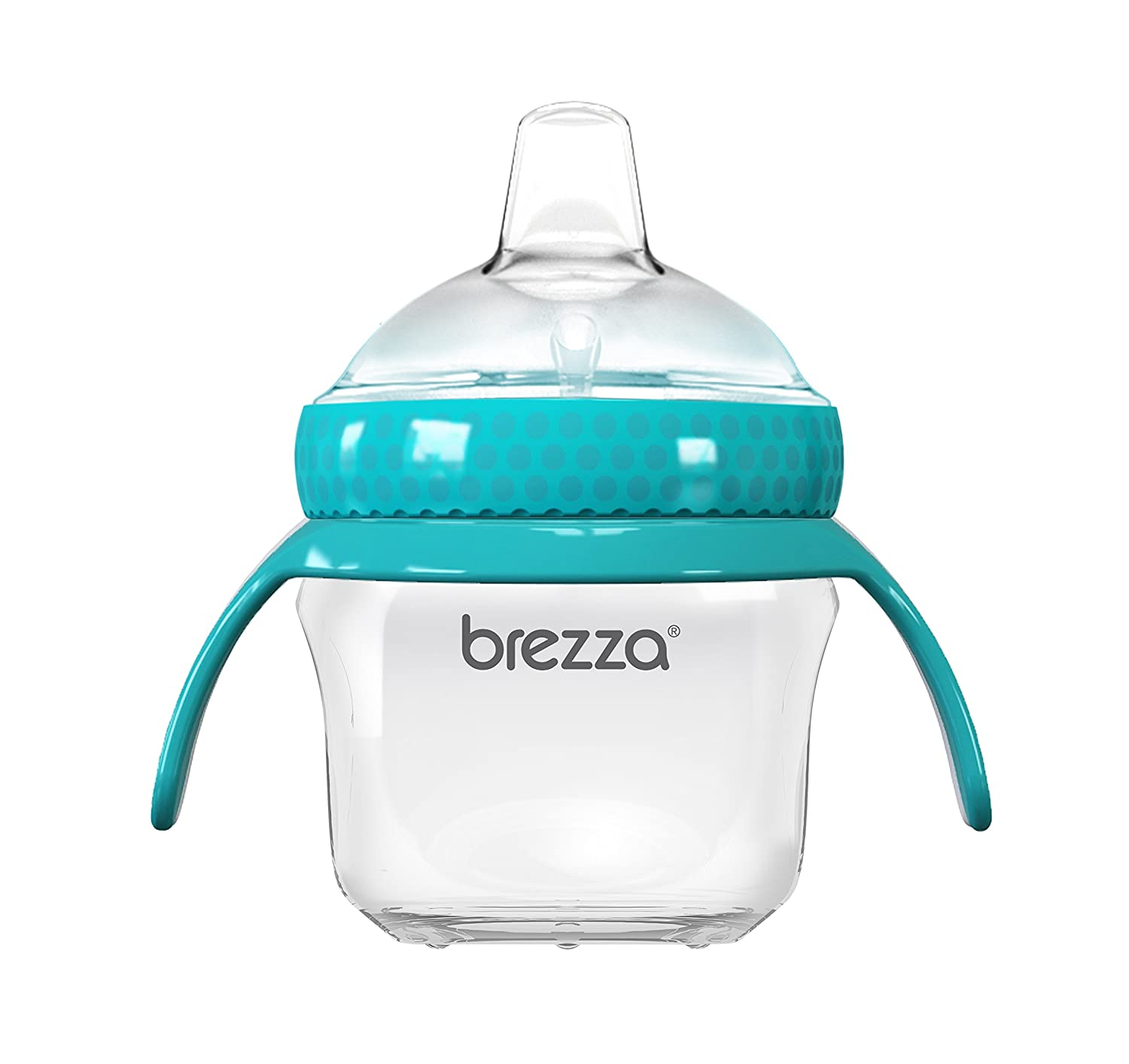 Baby Brezza Transition Sippy Cup with Handles - Leak & Spill Proof - Soft Silicone Spout, BPA Free, Wide Mouth for Easy Cleaning - Great Transitional Cup for Infants and Toddlers – 5 Ounce - Blue BZB00200