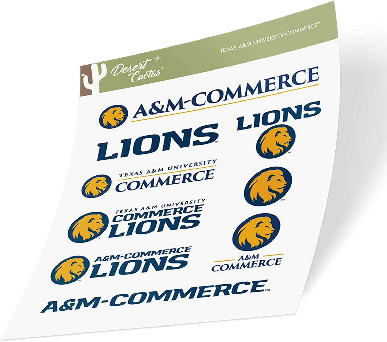 Texas A&M University Commerce TAMUC Lions NCAA Sticker Vinyl Decal Laptop Water Bottle Car Scrapbook (Type 2 Sheet)