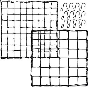 Elcoho 2 Packs Elastic Trellis Netting Flexible Net Trellis with 12 Hooks Suitable for 3 x 3 Feet, 3 x 4 Feet, 4 x 4 Feet Grow Plant Tents, Black