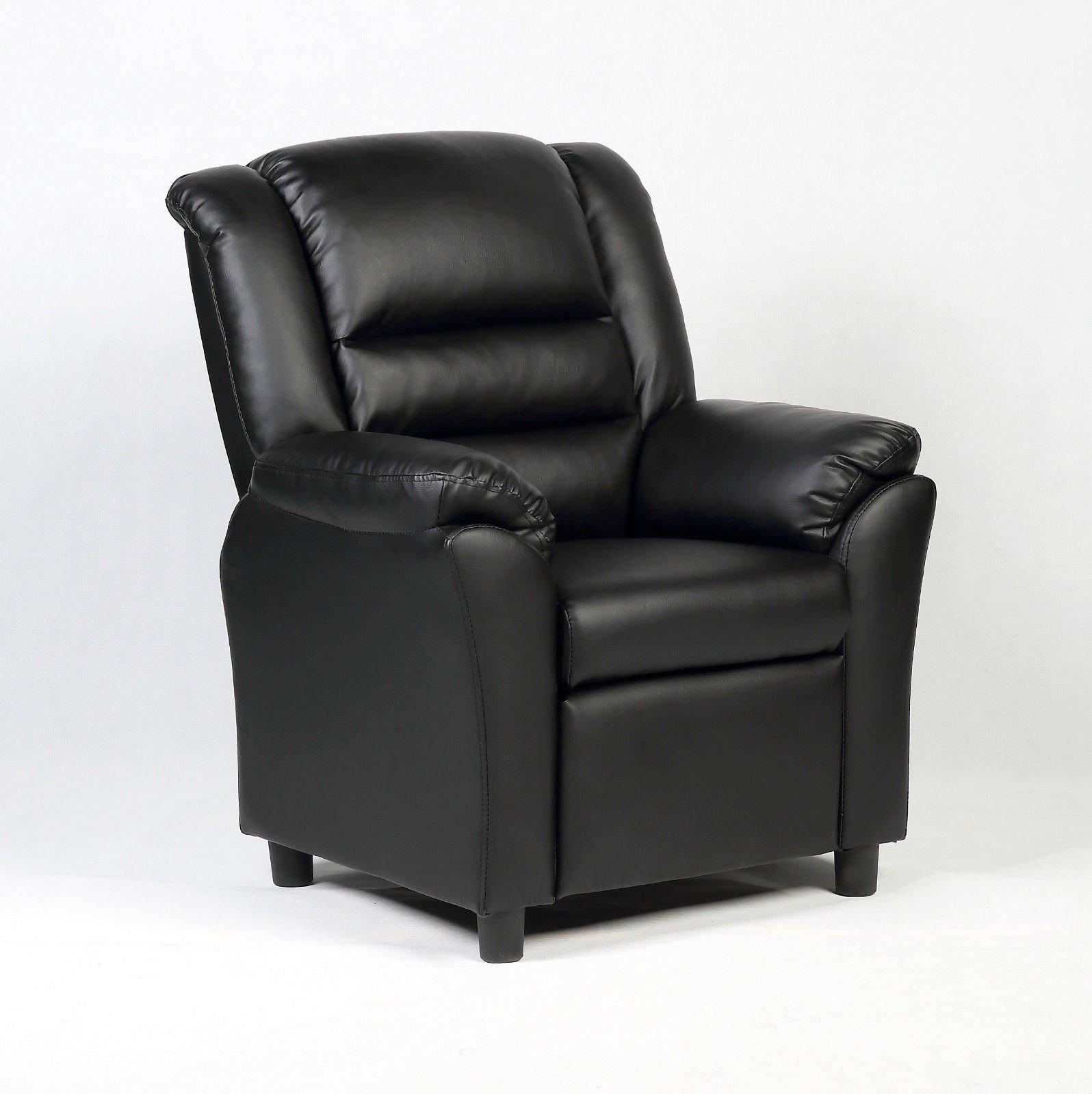Black Wood frame+PU Kid Armchair With Ebook