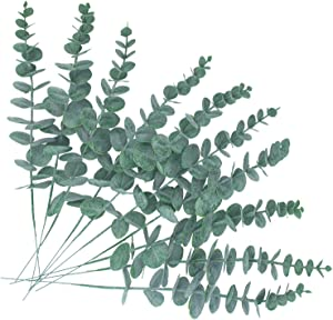 Artificial Eucalyptus Stem Fake Plants Real Touch Leaf Wedding Bouquet Centerpiece Home Decor (Green)