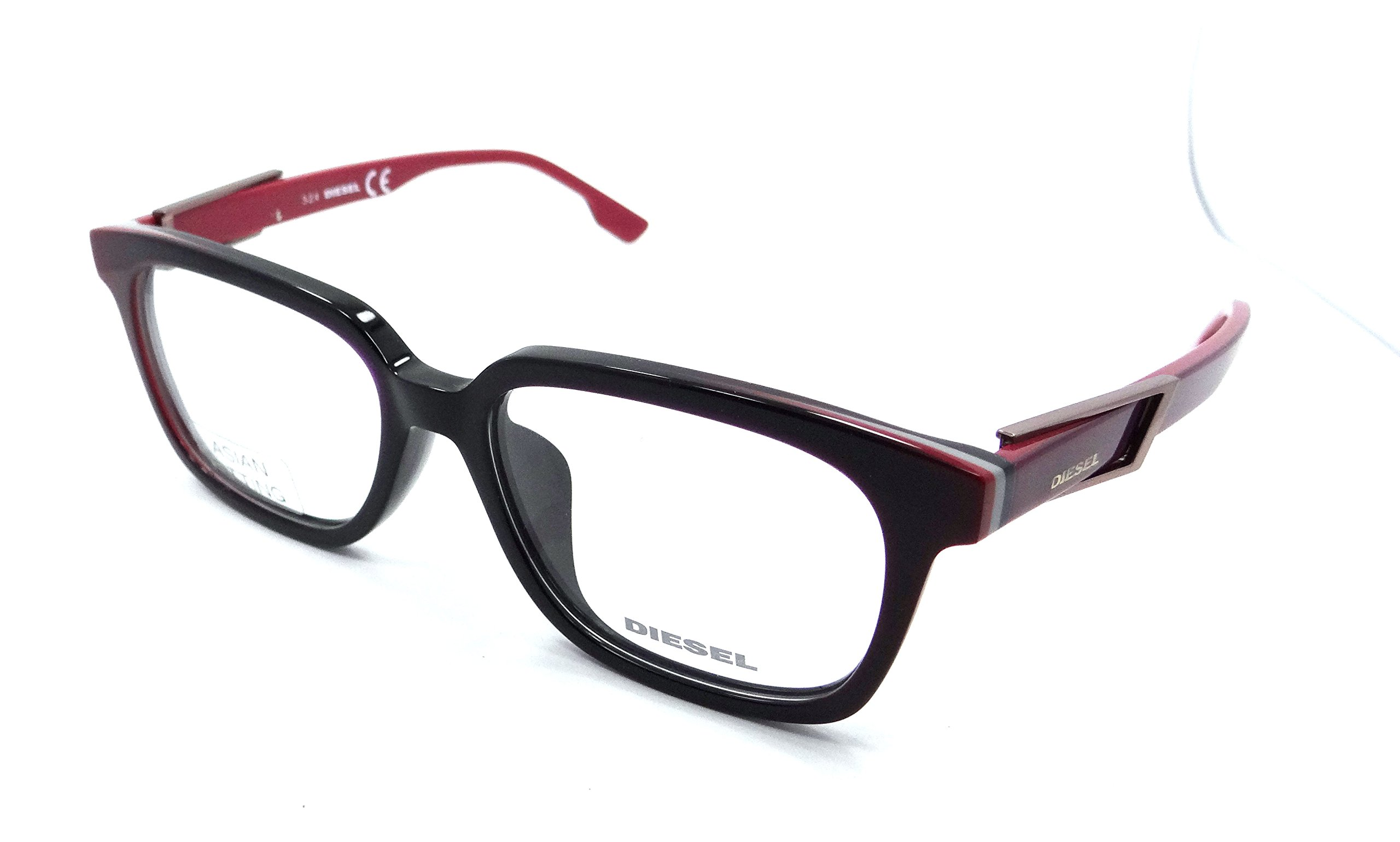 Diesel Rx Eyeglasses Frames DL5111-F 077 55-17-150 Black / Burgundy Asian Fit