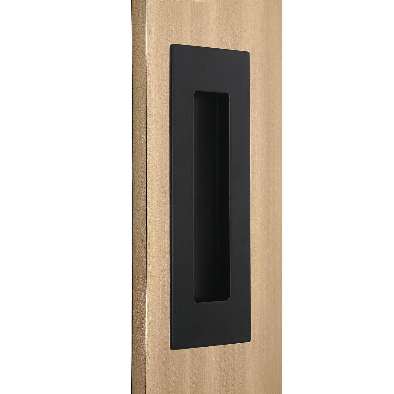 Probrico 2Pcs Black Rectangular Recessed Flush Handles 6in x 2in Sliding Door Pulls Stainless Steel