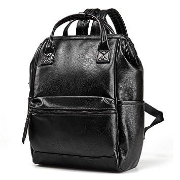 Eeayyygch Hombres de Moda Mochila de Cuero Hombre portátil Bolsas de Hombro Dobles Bolso Escolar Informal Hombre Mochila de Viaje Negro (Color : Negro, ...