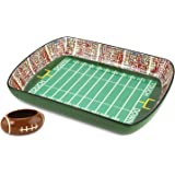 KOVOT Football Stadium Game Day Ceramic Chip and Dip Dish, Green