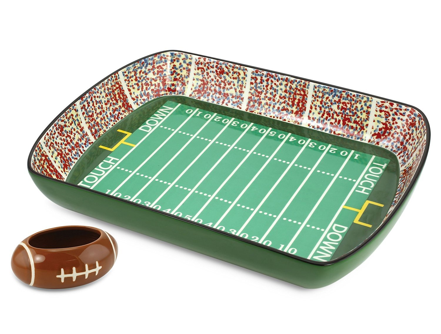 KOVOT Football Stadium Game Day Ceramic Chip and Dip Dish, Green KO-159