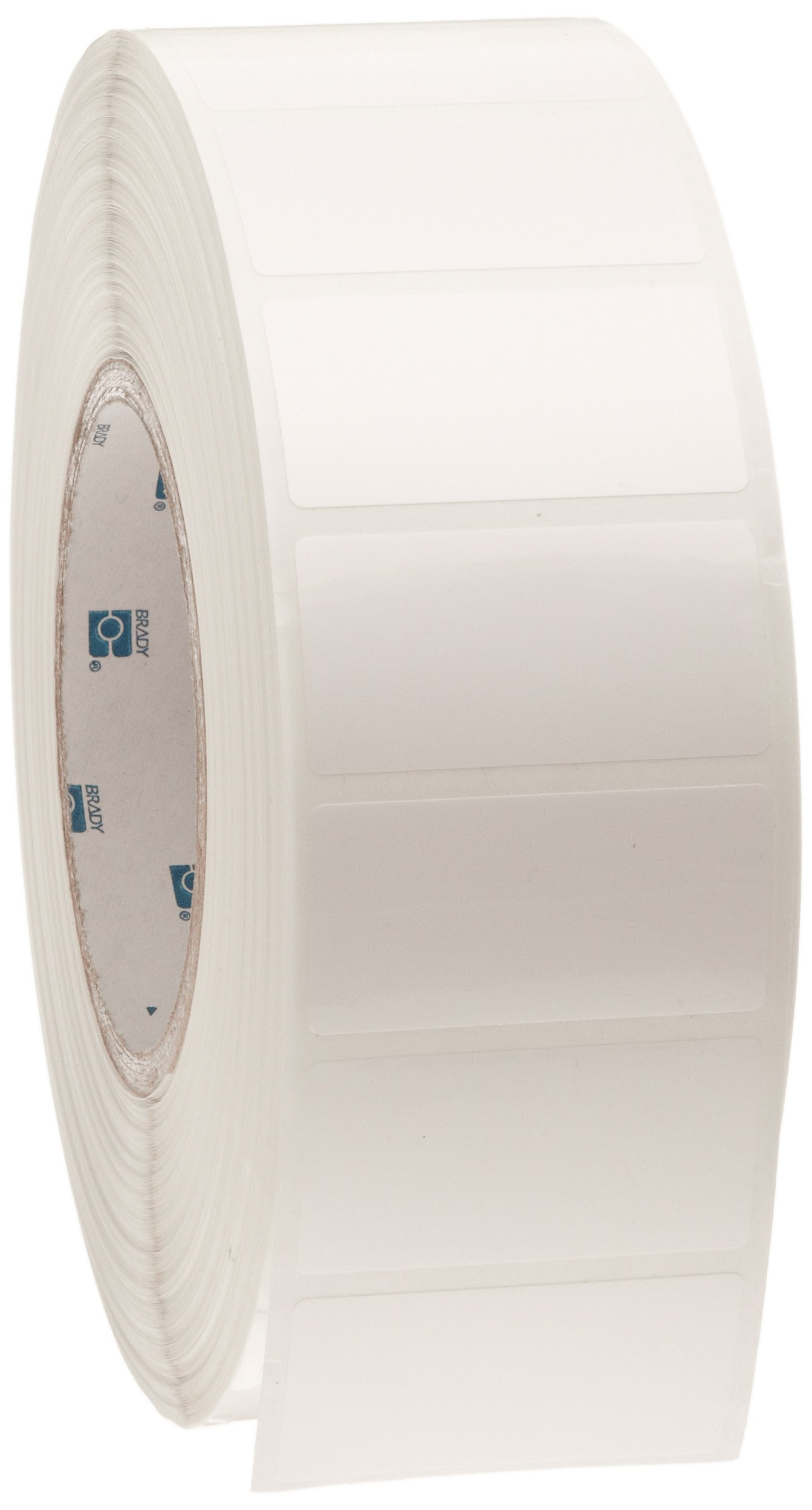 Brady THT-17-483-3 2'' Width x 1'' Height, B-483 Ultra Aggressive Polyester, Gloss Finish White Thermal Transfer Printable Label (3000 per Roll)