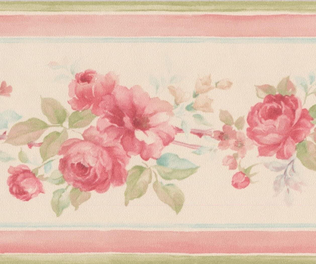 Hot Pink Roses Beige Floral Wallpaper Border Retro Design Roll 15
