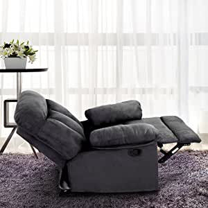 LANGRIA Living Padded Recliner Sofa Chair Contemporary for Home or Office, 2 Reclining Positions, Ergonomic Armrests/Footrests with Premium Soft Foam Padding, Grey