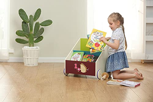 Labebe Kinder Bücherregal mit Rädern | Kinder Bücherregale mit Rollen