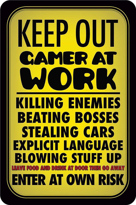 BlechschilderWelt Cartel de Chapa Keep out Gamer at Work ...
