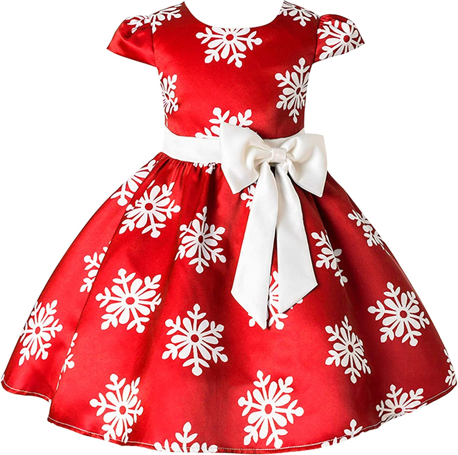 6-6 Years Christmas Holiday Dress for Toddler Girls Snow Party Queen Dress  Snowman Silk Christmas Flower Dress
