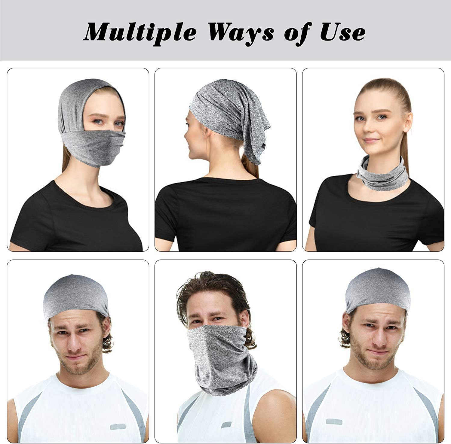 Seamless Neck Gaiter Bandanas Scarf with Safety Carbon Filters Sport Outdoor Protective Equipment 13 Pack Both Men and Women Kids