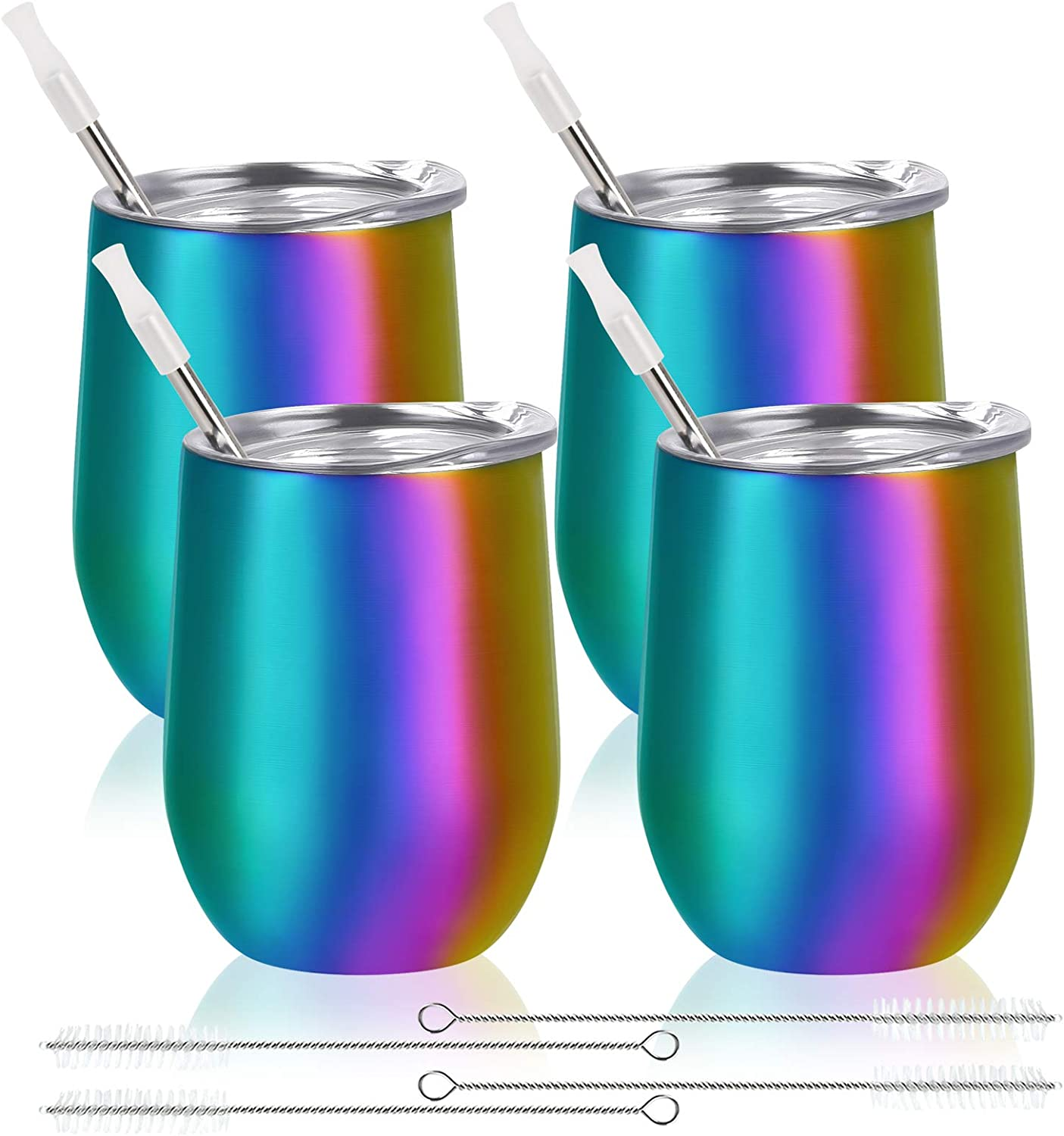 4 pack Rainbow Stainless Steel Wine Tumbler with Lids and Straws, 12 oz Double Wall Vacuum Insulated Wine Tumblers Glass, Set of 4 Stemless Cup for Coffee, Wine, Cocktails, Drinks, Ice Cream,